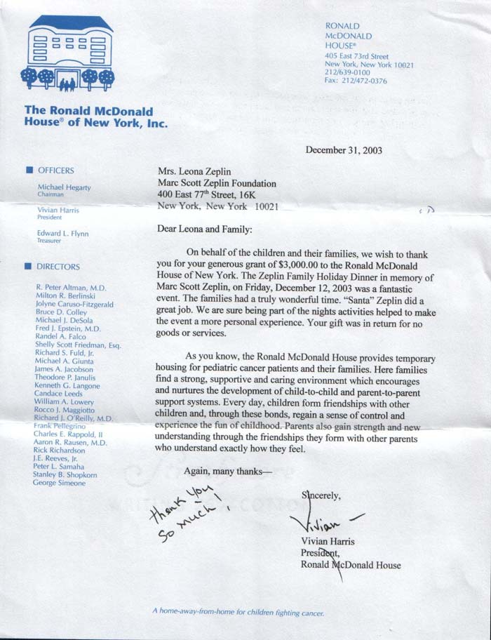 Letter from Ronald McDonald House